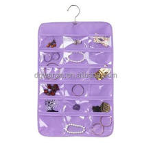 high quality plastic pocket hanging organizer PVC plastice shelf makeup organizer non woven hanging jewelry organizer