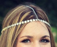 2015 Hot Hand Sequined Hair Headband, Gold Plated Chinese Hair Accessories X8-H061