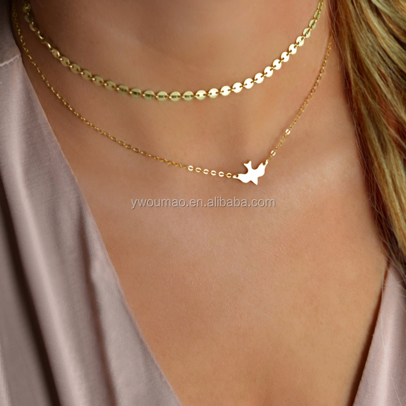 Fashion US European Jewelry Handmade Sequins Peace Bird Dove Pendant Necklace Layered Choker Necklace for Women