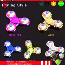 Promotion gift price wholesale plating electroplating EDC led light tri fidget spinner spin toy