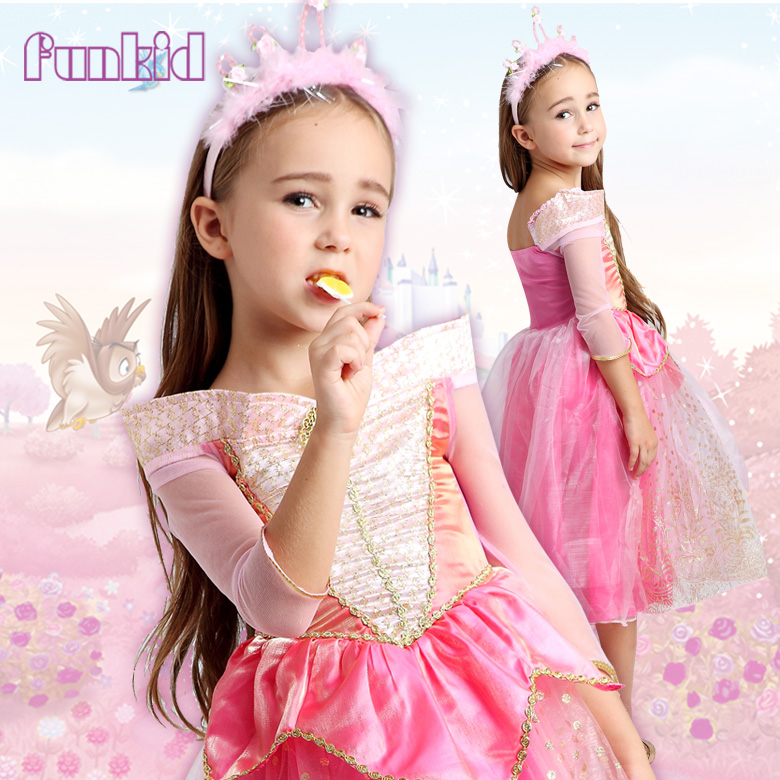 2017 hotsale OEM wholesale Aurora sleeping beauty princess dress for kids