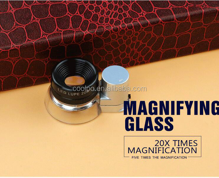Aluminum Premium Glass Magnifying Eye Loop Stand LED Illuminated 20X Jewelers Lupe Magnifier