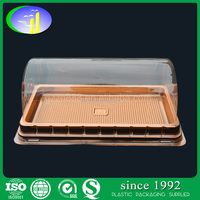 Disposable PET PS Plastic cake container box with golden base and clear lid