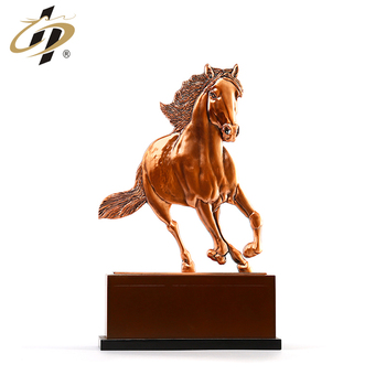 Steed shaped 3D figurines single side custom metal souvenir trophy with base