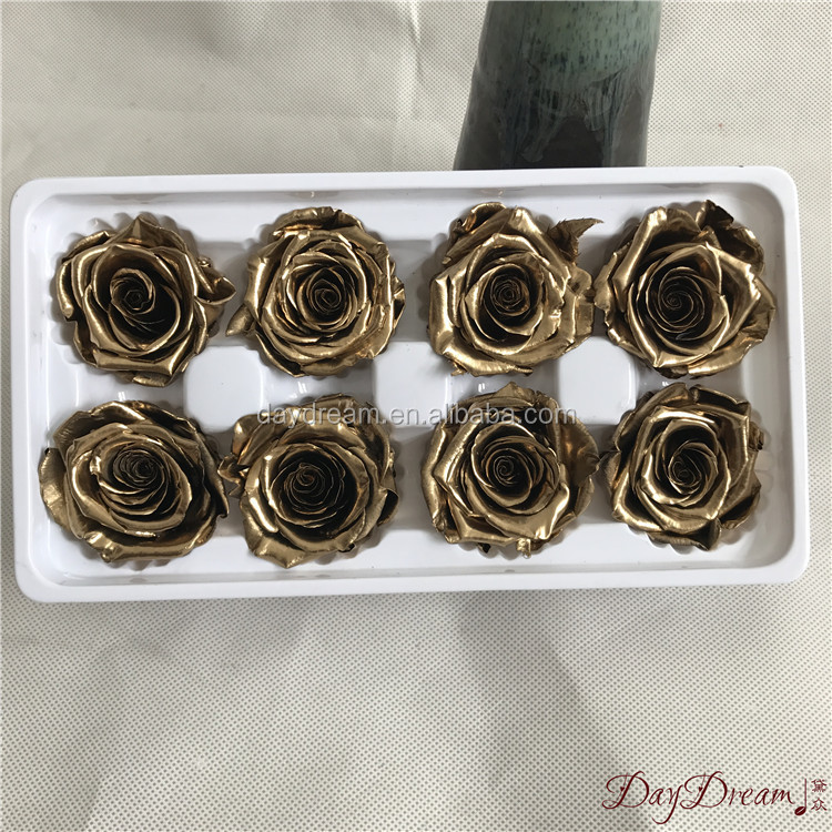 Real natural golden preserved rose gold flower dipped in real 24k gold rose gifts