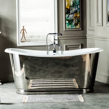 "66"" Cast Iron French Beau Tub With Mirror Polished Exterior"