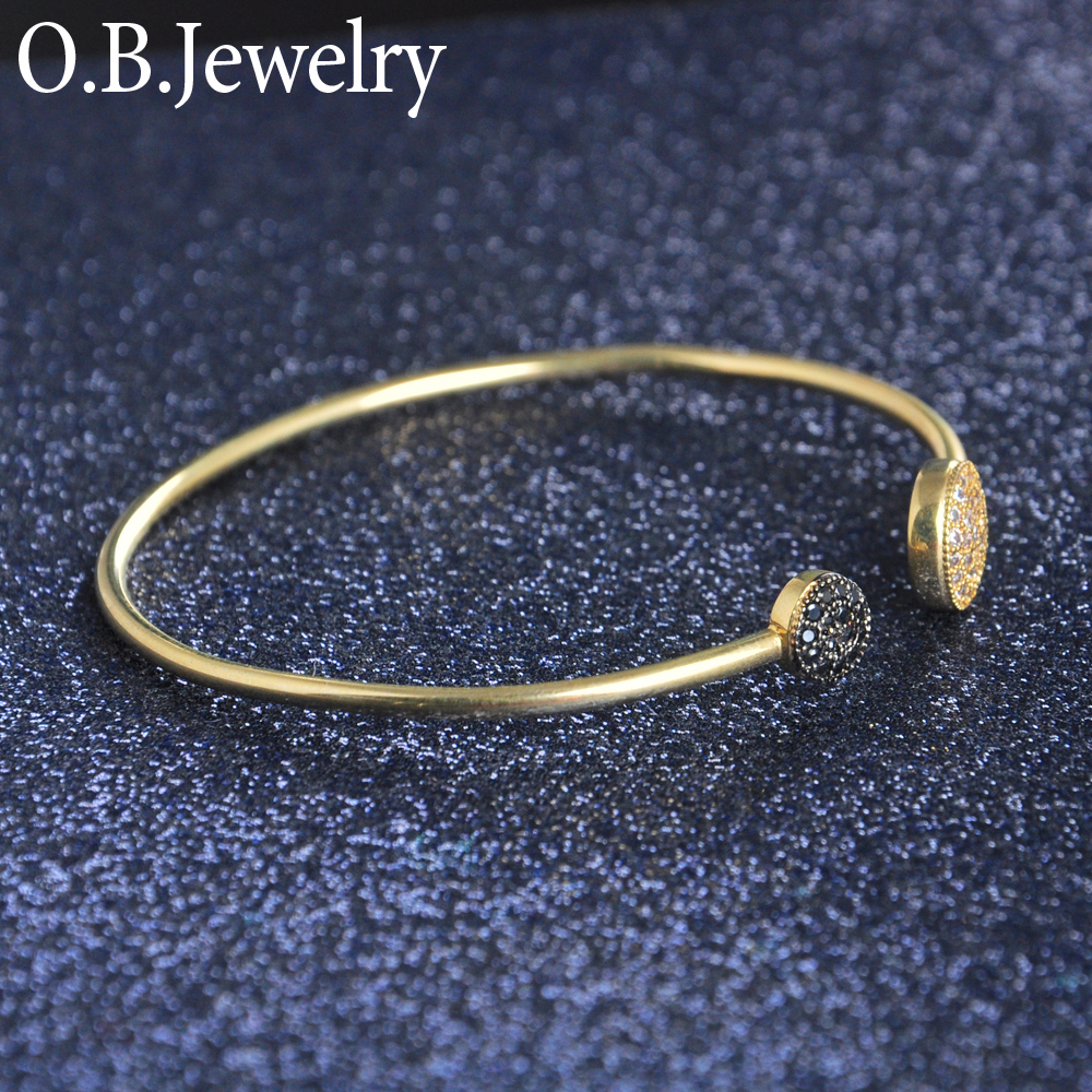 Open Style Imitation Black Diamond Zircon Wire Bangle Bracelet
