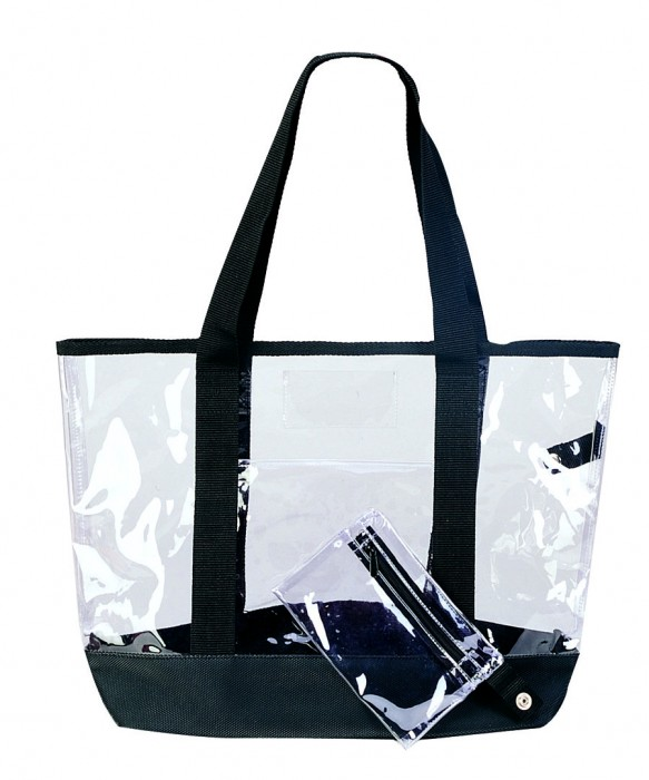 Fashion recycled clear beauty case pvc plastic cosmetic shopping bag with zipper