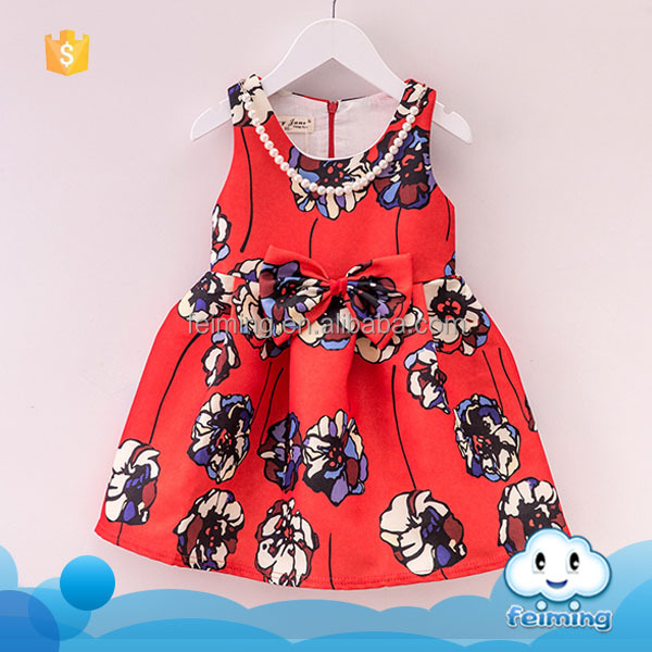 Top selling products 2016 baby clothes wholesale price kids party wear red flower black girls dresses for 2-7 years old