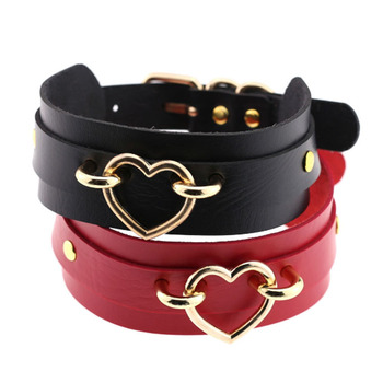 Wholesale Cheap Women's Fashion Accessories Cute Heart Leather Necklace Wide Choker