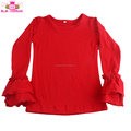 Children's Boutique Clothing Girl Cotton Ruffled Shirts Solid Red Kids Double Ruffles Shirts