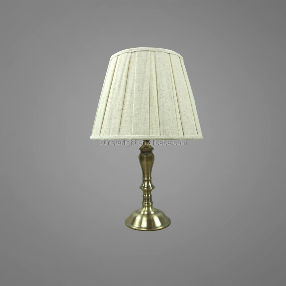 Metal Base And Body In Antique Brass Finish With Fabric Lampshade Mini Table Light Bedside Table Lamp Study Table Light