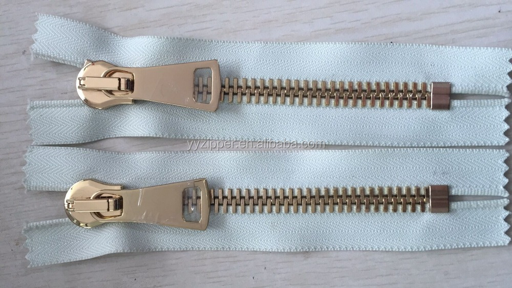 Durable in Used # 10 Golden Metal Zipper with Closed-End