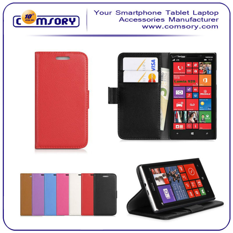 For Nokia Lumia929 PU leather Wallet case with stand function and card holder