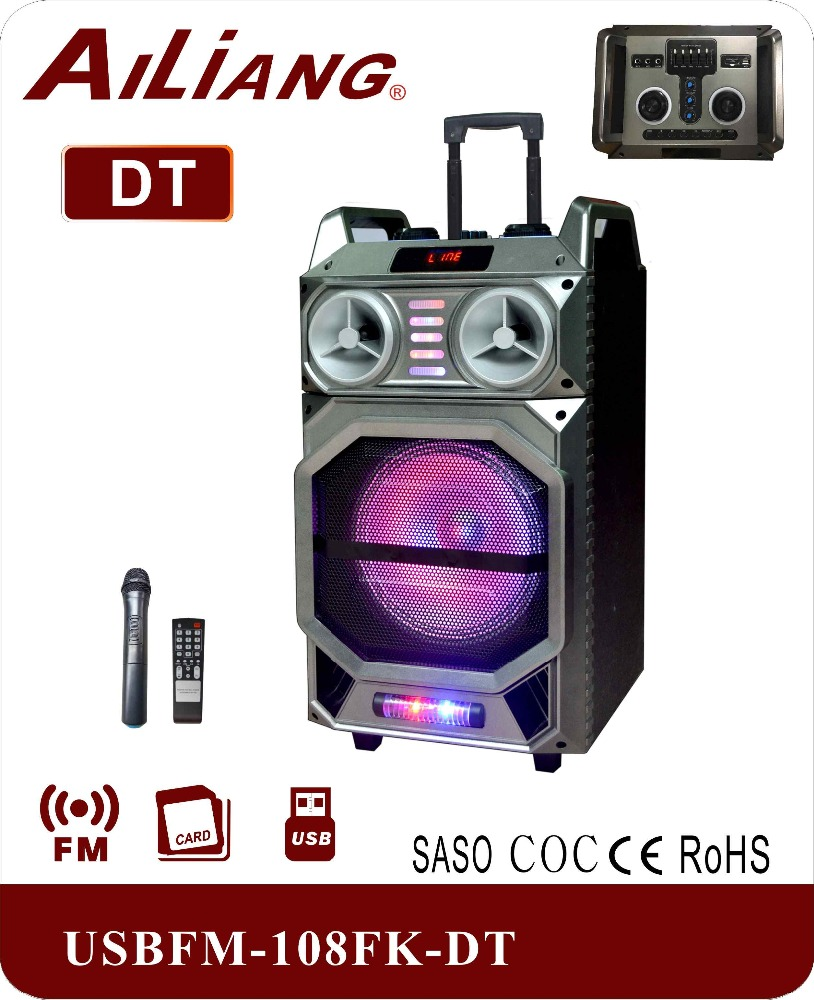 AILIANG 12 INCH protable battery powered trolley speaker with USB/SD/FM/BT USBFM-108FK-DT