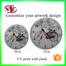 Retro Bike 12 Inches Funny Designs Large Glass Silent Digital China Clock Wall Home Decor