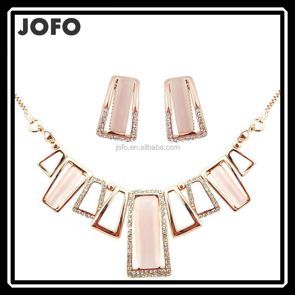 Bridal Women Real Gold Opal Choker Necklace Earrings Set Indian Designer Jewelry JDJ0042