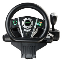 wired USB video game vibration racing steering wheel with foot pedal for PC / X-INPUT /PS2 /PS3 game console