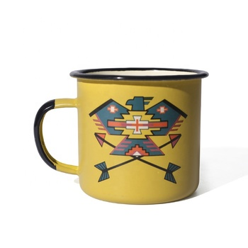 Different color promotional gift enamel camping mug with custom logo printing