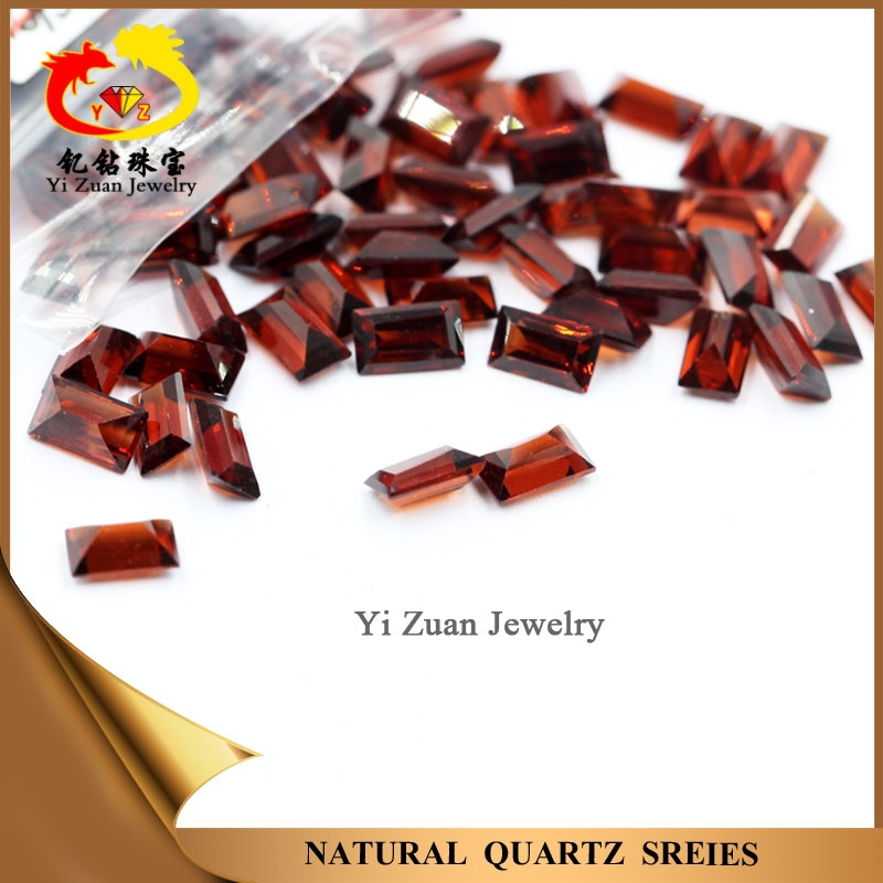 Perfect Baguette cut red colored Rough Natural Quartz garnet price for Chain