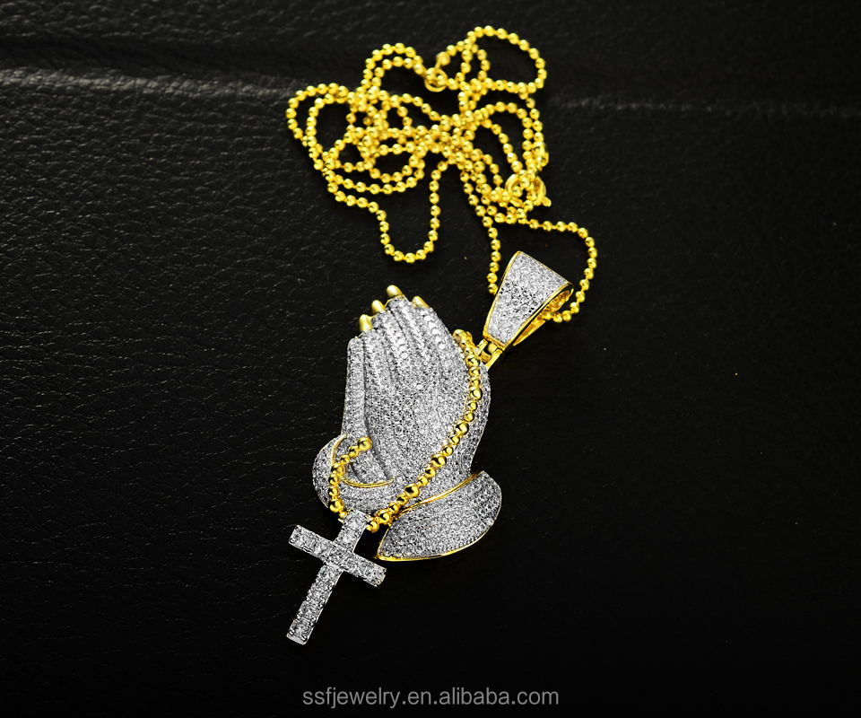 factory wholesale hip hop jewelry findings religious crystal praying hands pendant