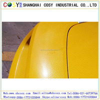 160 micron carbon fiber vinyl , yellow car wrap vinyl film