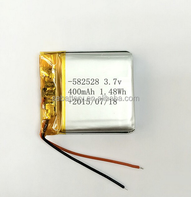 Small Rechargeable Lithium polymer battery 582528 400mAh 3.7V