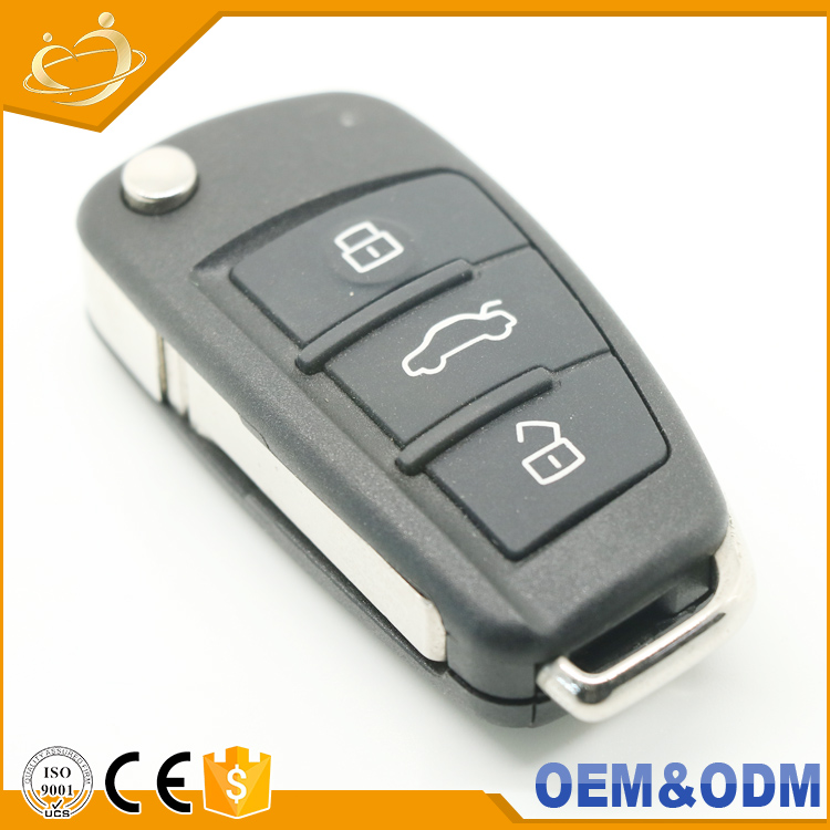 Wholesale 3 buttons Auto Keys Series Accessory Leather Case Black Remote Car Key for Audi