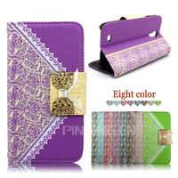 Luxury bowknot Lady handbag wallet style flip leather case for Blu Studio G Lte