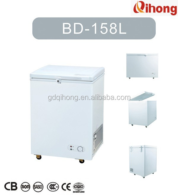 BD-158L single door chest freezer CB CE SASO certificate Ningbo Qihong