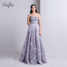 CAIJIA 2017 Fantasy Purple Beaded Strapless Ball Gown Chaozhou Evening Dress Elegant Embriodery Wedding Dress 2017