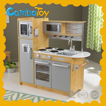 USA Hot Selling Red Color Wooden Food Play Toy Big Kitchen Sets