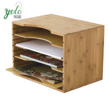 Modern Bamboo Wood File Organizer with Adjustable Dividers