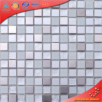 HB01 Crystal Glass Mix Stainless Steel Mosaic Bathroom Wall Tiles Design
