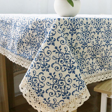 blue white rectangular table printed fabric tablecloth wedding