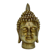 Golden resin buddha head for home decor