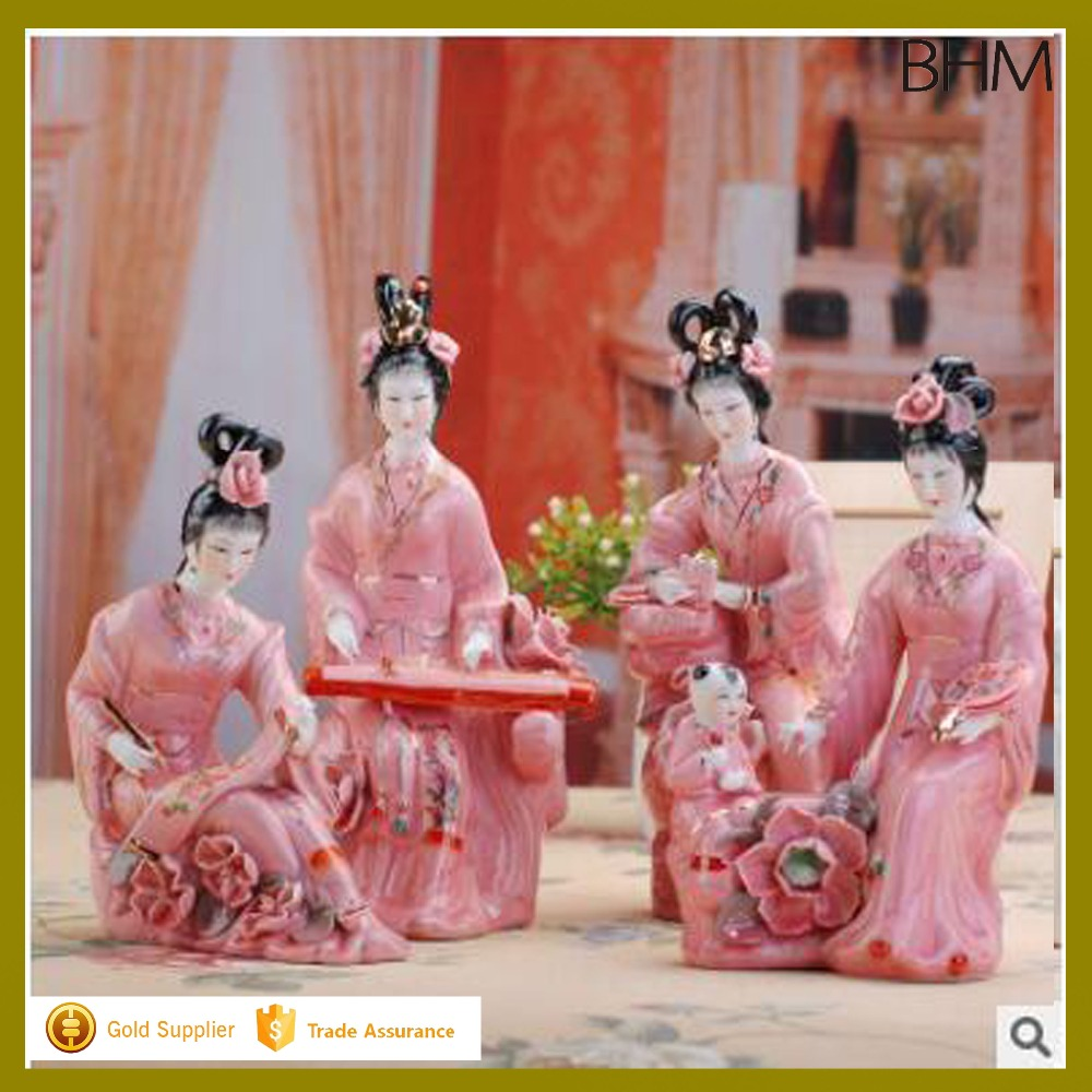 ancient Chinese style porcelain figurine japanese ceramic figurines