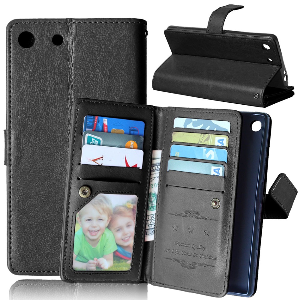 For Sony Xperia M5 Leather Case Flip Wallet Cover Stand Function With Magnetic Buckle Card Slot Mobile Phone Case