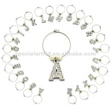 wholesale letter wine glass charms, various designs,passed SGS factory audit and ISO 9001 certification