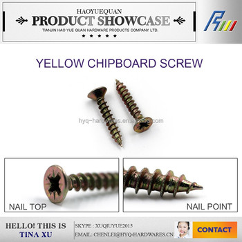 yellow chipboard screws, DIN 7505