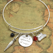 Mary Poppins bracelet just a spoonful of sugar jewelry charm bangles adjusable silver tone