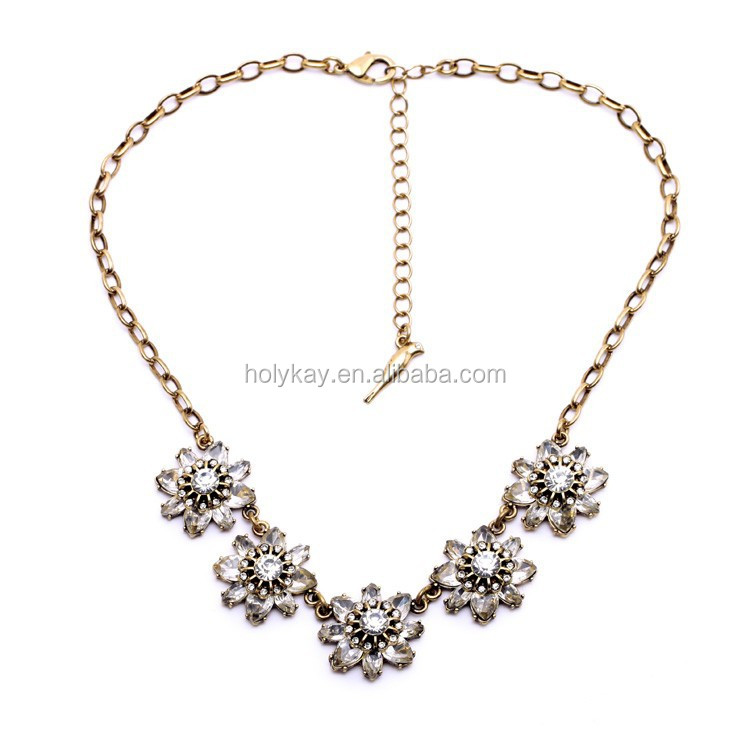 2015 New design flower fashion necklace for women, trending hot products crystal decorative lady accessories