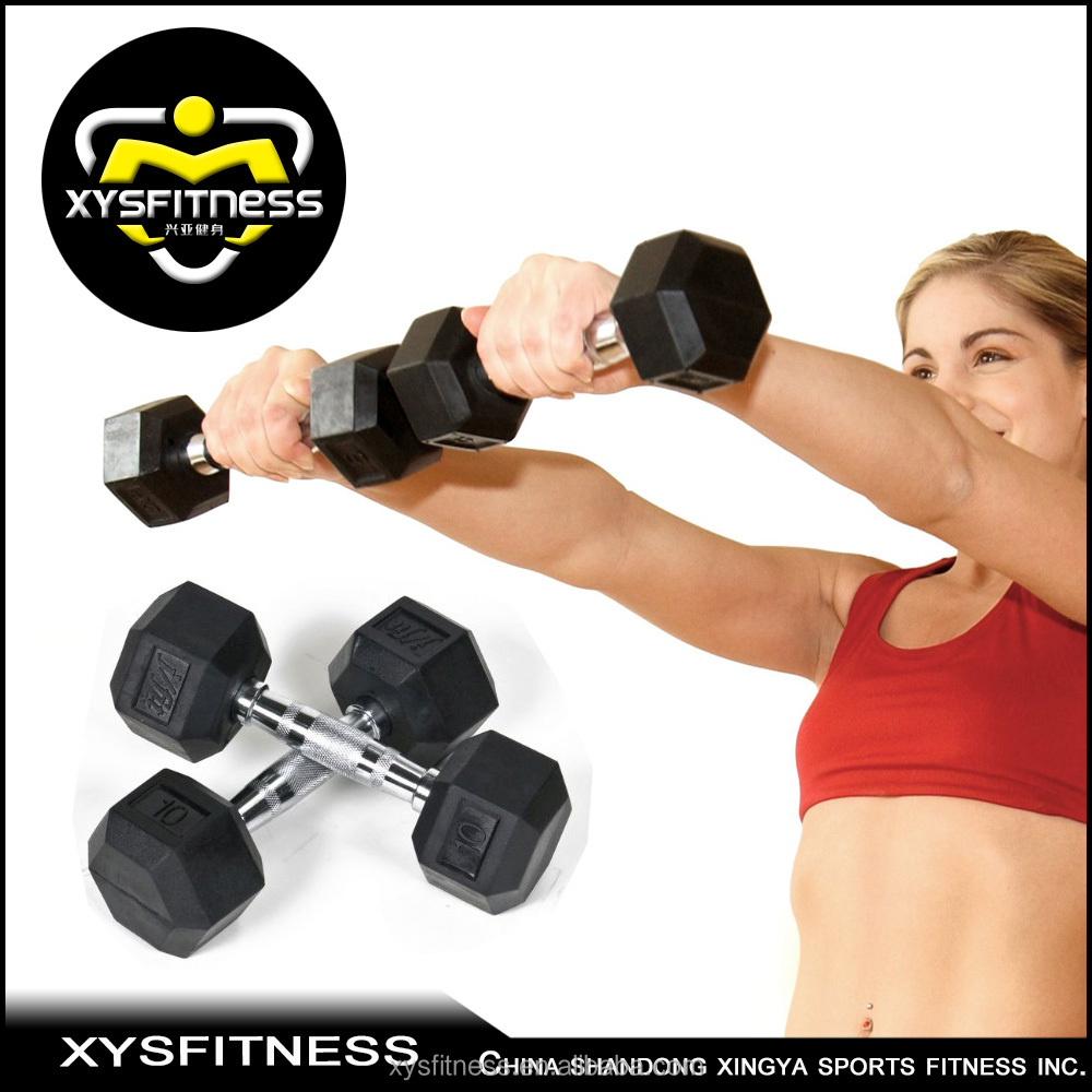 gym equipment/hex head rubber bumper dumbbell/exercise muscle sport product