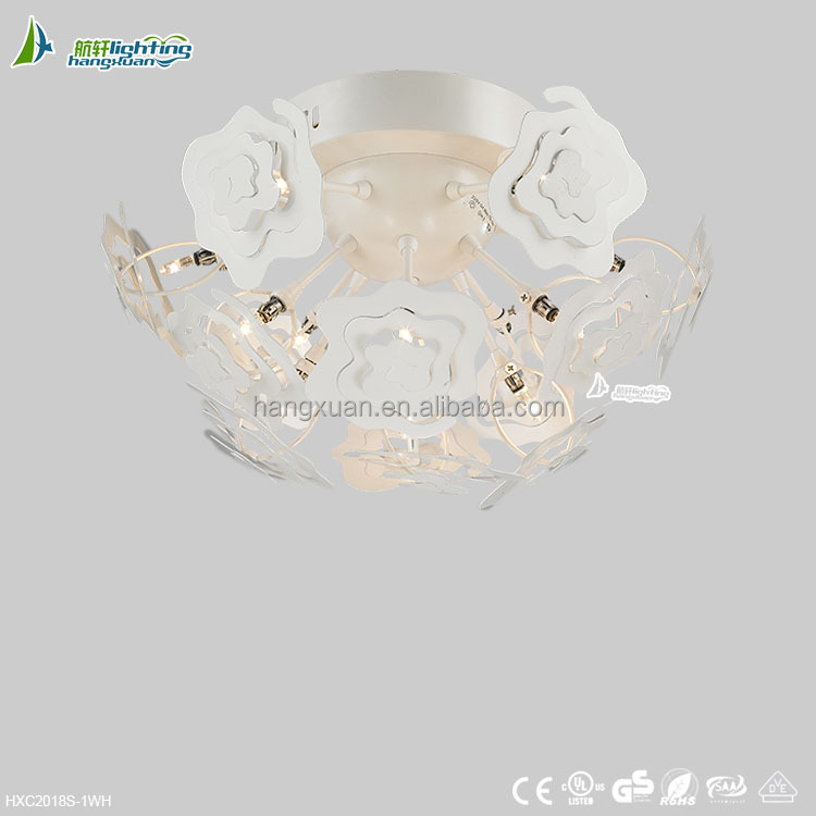 White colourful fancy chandelier ceiling light mounted in the ceiling HXC2018S-1WH