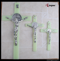 Religious catholic plastic luminous Saint Jesus crucifix cross pendant