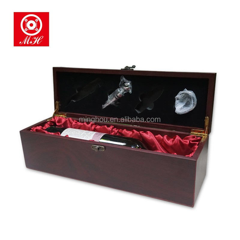 Excellent Single Bottle Red Wood Wine Gift Box with Accessories
