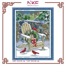 NKF hot slae 2015 Christmas snow pattern hand made cross stitch