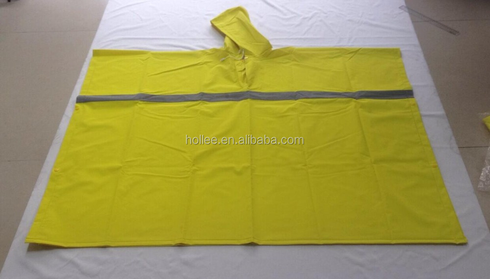 pvc/polyester rainwear with reflective tape bib pants with snap--thickness:0.35mm