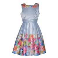 Colorful Print Satin Girl Dress