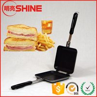 15*16*4 cm small size die-cast aluminum made sandwich cookware mold double sided BBQ frying pan for outdoor fishing